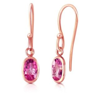 GOLD FISH HOOK EARRINGS WITH PINK TOPAZ